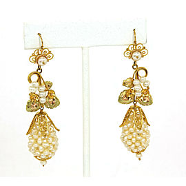 Estate Freshwater Pearls 10k Yellow gold Floral Drop Dangle Earrings