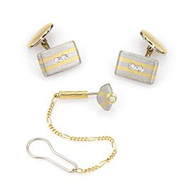 Estate Platinum & 18K Yellow Gold Diamond Cufflink and Tie Tack Set