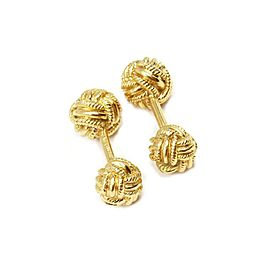 Tiffany & Co. Schlumberger 18k Yellow Gold Woven Ball Knot Stud Cufflinks