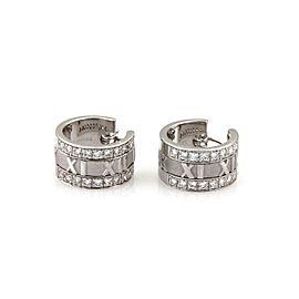 Tiffany & Co. ATLAS 1ct Diamond 18k White Gold Wide Hoop Earrings