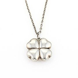 Georg Jensen Four Leaf Clover Sterling Silver Pendant & Chain Necklace