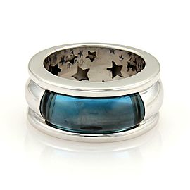 H.Stern Blue Topaz 18k White Gold 10mm Wide Dome Band Ring Size 7