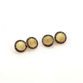 Bulgari Bvlgari 18k Yellow Gold Enamel Chain Double Button Cufflinks
