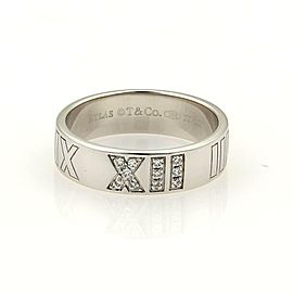 Tiffany & Co.Atlas Diamonds Roman Numeral 18k White Gold Band Ring Size 5