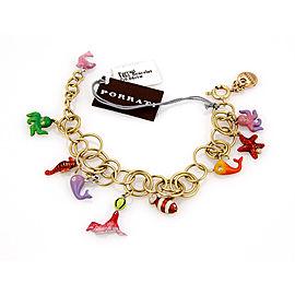 $8,650 NEW Roberta Porrati Baby Caracol 18K Yellow Gold Sea Life Charm Bracelet