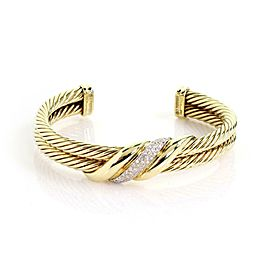 David Yurman Diamond 14k Yellow Gold Double Cable Band Cuff Bracelet