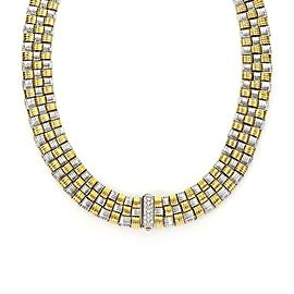 Roberto Coin Appassionata Diamond 18k Gold Basket Weave Collar Necklace