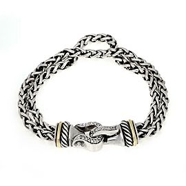 David Yurman Diamond Sterling Silver 18k Gold Double Chain Bracelet