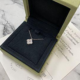 Van Cleef & Arples 18K White Gold Diamond Sweet Alhambra Mini Pendant 0.08cttw