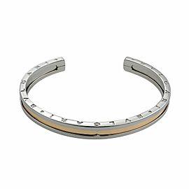 Bvlgari B Zero1 Steel 18k Rose Gold Engraved Cuff Bracelet Size S