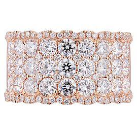 Rachel Koen 18K Rose Gold Diamond Pave Ladies Ring 3.00cttw Size 6.5