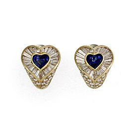 Tiffany & Co. 7.30ct Diamond & Sapphire Heart Huggie Post Clip Earrings