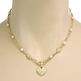Judith Ripka Diamond Pearls 18k Yellow Gold Heart Pendant Necklace