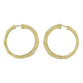 Judith Ripka Diamond 18k Yellow Gold 32mm Hoop Earrings