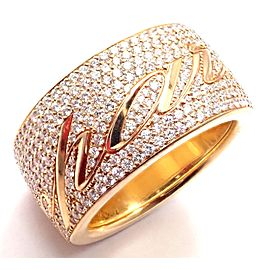 Chopard Chopardissimo 18k Yellow Gold Pave Diamond Signature Band Ring