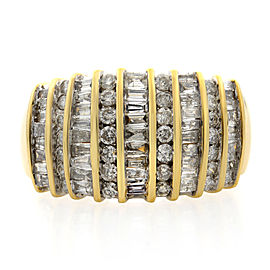Rachel Koen 14K Yellow Gold Baguette & Round Diamond Wide Band 2.00cttw SZ 8.5