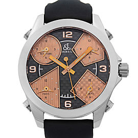 Jacob & Co Five Time Zone Stainless Steel Black Bronze Dial Quartz Mens Watch
