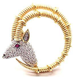 Tiffany & Co Schlumberger Ibex 18k Gold Platinum Diamond Ruby Brooch