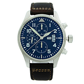 IWC Pilot Chronograph Steel Midnight Blue Arabic Dial Mens Watch IW377714
