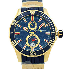 Ulysse Nardin Maxi Marine Diver 18K Rose Gold Blue Automatic Watch 266-10-3-93