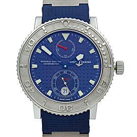 Ulysse Nardin Maxi Marine Steel Rubber Titanium Blue Dial Mens Watch 263-58 SS