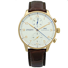 IWC Portugueser 18K Rose Gold Arabic Silver Dial Automatic Mens Watch IW371480