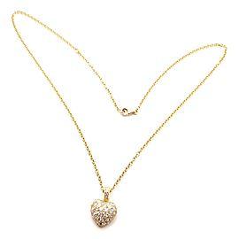 Authentic! Cartier 18k Yellow Gold Diamond Pavé Large Heart Pendant Necklace