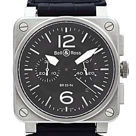 Bell & Ross Phantom Chronograph Steel Black Dial Automatic Mens Watch BR03-94-S