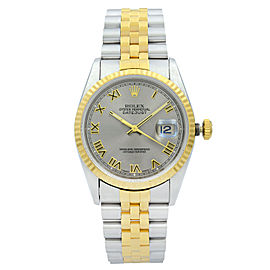 Rolex Datejust 36mm 18K Yellow Gold Steel No Holes Rhodium Dial Mens Watch 16233