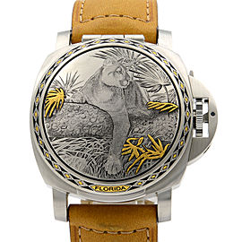 Panerai Luminor Sealand Florida Panther Steel Silver Dial Watch PAM00845