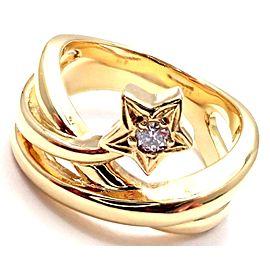 Mikimoto 18k Yellow Gold Diamond Lucky Star Band Ring