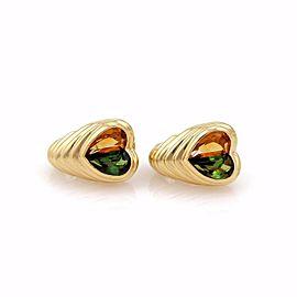 Bvlgari Bulgari Citrine & Tourmaline 18k Yellow Gold Hearts Hoop Earrings