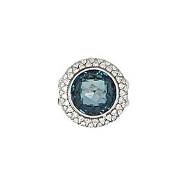 64702 David Yurman 1.00ct Diamond Topaz Sterling Silver Cable Ring Size - 5
