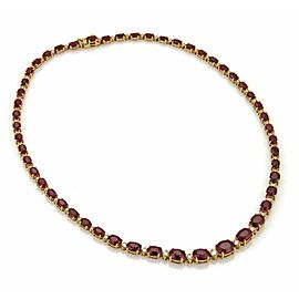 Vintage 35.20ct Ruby & Diamond 14k Yellow Gold Graduated Tennis Necklace