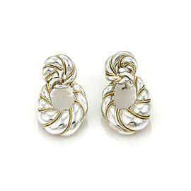 Tiffany & Co. 18k YGold Sterling Silver Twist Style Large Loop Dangle Earrings