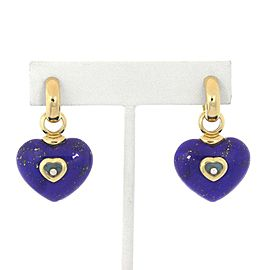 Chopard Happy Diamond Lapis Turquoise 18k Yellow Gold Heart Dangle Earrings