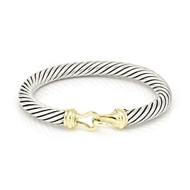 David Yurman 14k Yellow Gold 925 Silver Cable Hook & Eye Bangle Bracelet