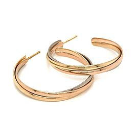 Cartier 18k Tri Color Gold Trinity Hoop Earrings 30mm
