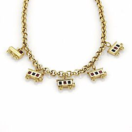 Estate 18k Yellow Gold Sapphire & Ruby Train Charm Hefty Chain Necklace