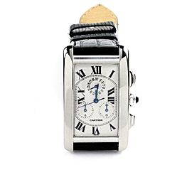 Cartier Tank Americaine Chronograph 18k White Gold Leather Band Men's Watch 2312