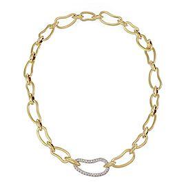 Pomellato 1.70ct Diamond 18k Two Tone Gold Large Open Bean Link Necklace