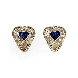 Tiffany & Co. 7.30ct Diamond & Sapphire Heart Huggie Post Clip Earrings
