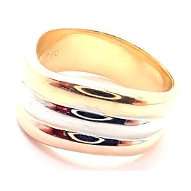 Authentic! Cartier Trinity 18k Tri-Color Gold Band Ring