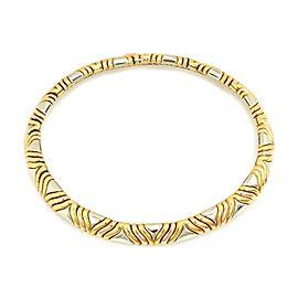 Bvlgari Bulgari 18k Tri-Color Gold 11mm Wide Fancy Design Collar Necklace
