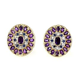 Erte 15.10ct Diamond Amethyst Sapphire 14k Gold Oval Post Clip Earrings