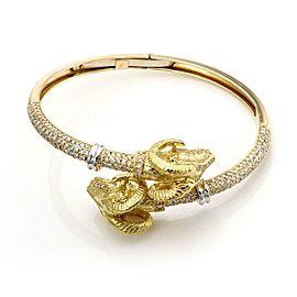 Sidra 3.37ct Diamond 18k Yellow Gold Double Ram's Head Flex Band Bracelet