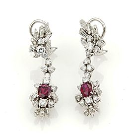 Estate 4.50ct Diamonds Rubies Platinum 14k White Gold Drop Dangle Earrings