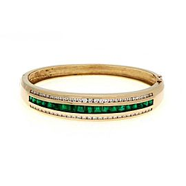 Estate 5.50ct Diamond & Emerald 14k Yellow Gold Bangle Bracelet