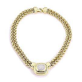 David Yurman Albion Diamond 18k Yellow Gold Pendant Double Chain Necklace