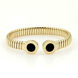 Bvlgari Bulgari Onyx 18k Yellow Gold Circle Station Flex Cuff Bracelet